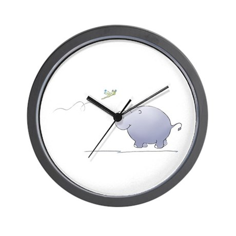 hippo and dragonfly Wall Clock