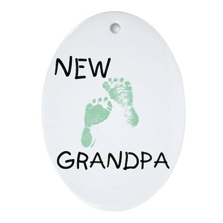 New Grandpa (green) Oval Ornament