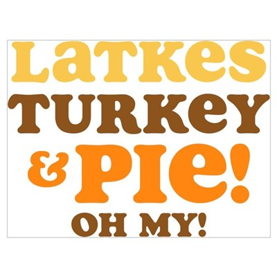 Latkes Turkey And Pie Wall Art Framed Print