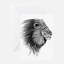 Lion (Black and White) Greeting Cards