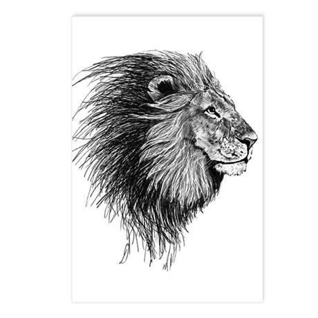 Lion (Black and White) Postcards (Package of 8)