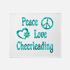 Peace Love Cheerleading Throw Blanket