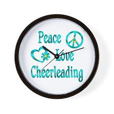 Peace Love Cheerleading Wall Clock