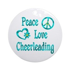 Peace Love Cheerleading Ornament (Round)