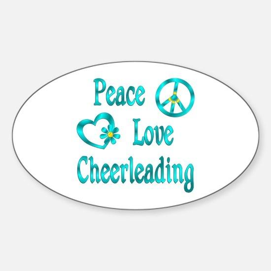 Peace Love Cheerleading Sticker (Oval)