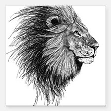 "Lion (Black and White) Square Car Magnet 3"" x 3"""