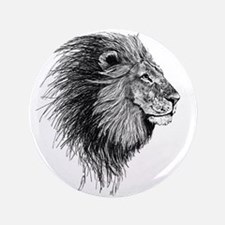 """Lion (Black and White) 3.5"""" Button"""