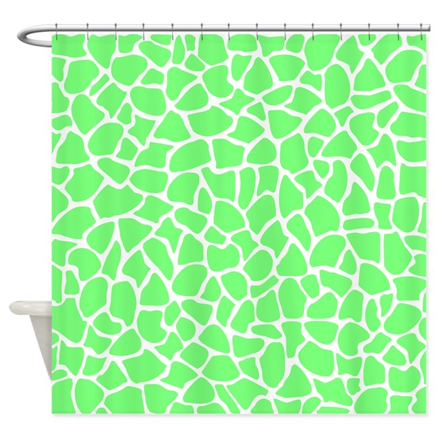Green giraffe print pattern shower curtain by metarla4 - Green curtain patterns ...