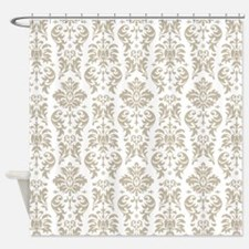 Taupe and White Damask Pattern