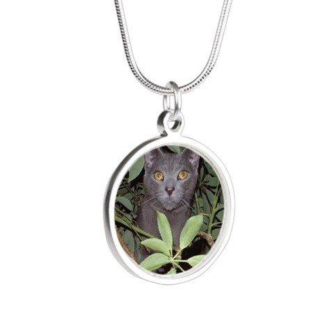 Jungle Cat Silver Round Necklace