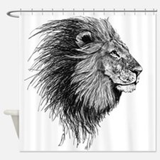 Lion (Black and White) Shower Curtain