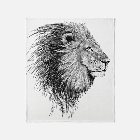 Lion (Black and White) Throw Blanket