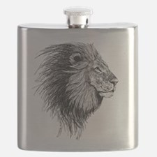 Lion (Black and White) Flask