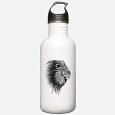 Lion (Black and White) Sports Water Bottle