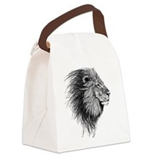 Lion (Black and White) Canvas Lunch Bag