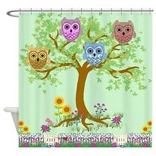country owls in a tree Shower Curtain
