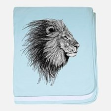 Lion (Black and White) baby blanket