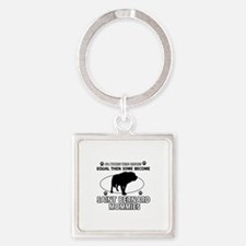 Become Saint bernard mommy designs Square Keychain