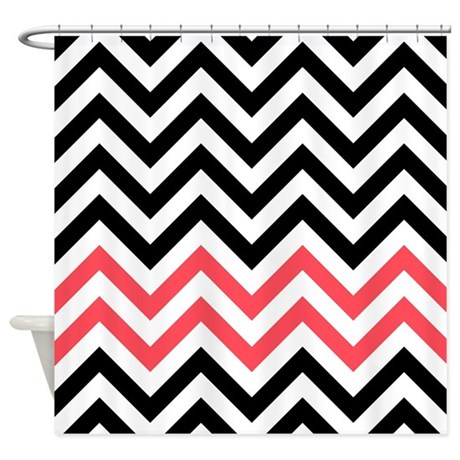 Black White And Red Chevrons 1 Shower Curtain By Laughoutlouddesigns1