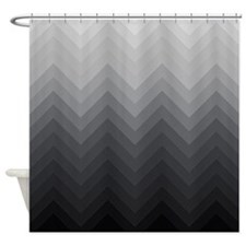 Gray Gradients Chevrons 1 Shower Curtain
