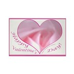 Pink Rose in Heart, Valentine Rectangle Magnet (10