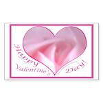 Pink Rose in Heart, Valentine Sticker (Rectangular