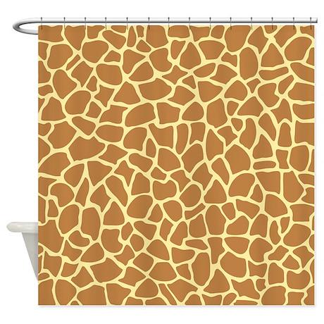 Giraffe Pattern Brown And Yellow Shower Curtain By Metarla4