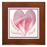 Pink Rose in Heart, Valentine Framed Tile
