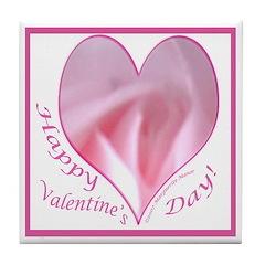 Pink Rose in Heart, Valentine Tile Coaster