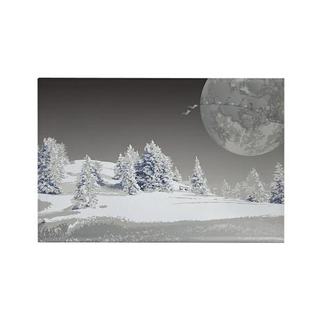 Santa's Moon Rectangle Magnet
