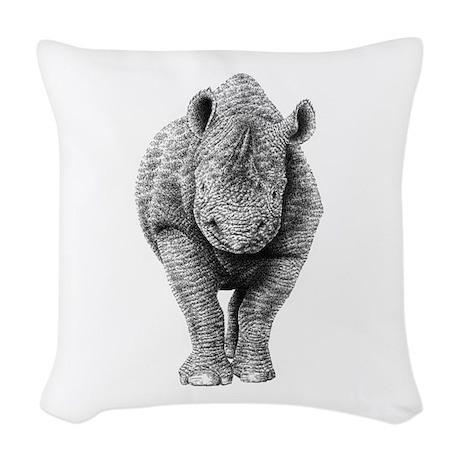 Black Rhino Woven Throw Pillow