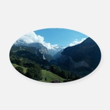 Lauterbrunnen Valley from Wengen,  Oval Car Magnet