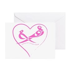 Rose pink birds in a heart Greeting Cards (Package