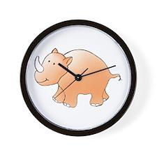 Orange Rhino Wall Clock