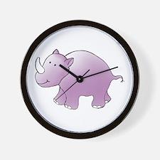Purple Rhino Wall Clock
