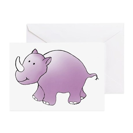 Purple Rhino Greeting Cards (Pk of 10)