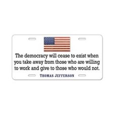Jefferson Quote Aluminum License Plate