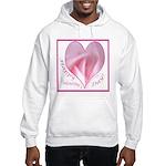 Pink Rose in Heart, Valentine Hooded Sweatshirt