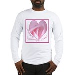 Pink Rose in Heart, Valentine Long Sleeve T-Shirt