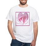 Pink Rose in Heart, Valentine White T-Shirt