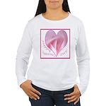Pink Rose in Heart, Valentine Women's Long Sleeve