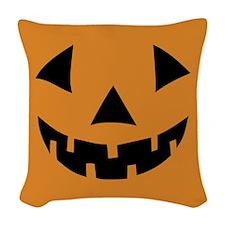 Jack-o-lantern Pumpkin Woven Throw Pillow