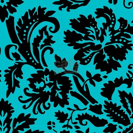 turquoise and black damask shower curtain by admincp49789583