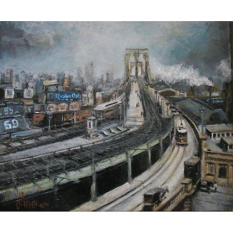Vintage NYC Brooklyn Bridge Shower Curtain by CdashNWH