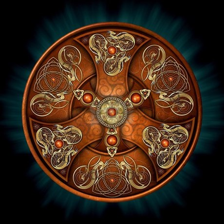 Celtic Shields - Copper Chieftain Shower Curtain by naumaddicarts