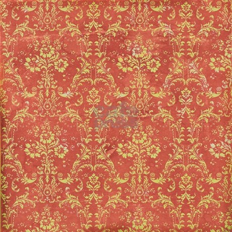 Red Yellow Vintage Flourish Damask Shower