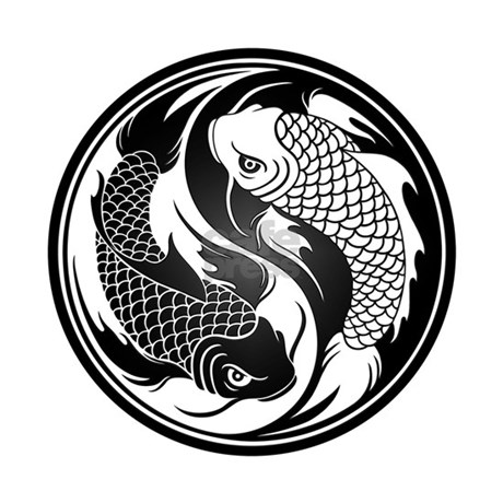 Black and white yin yang koi fish hat by uniqueyinyangs for Black and white koi fish