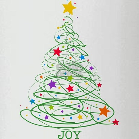 Swirly Christmas Tree Drinking Glass by PinkInkArt2