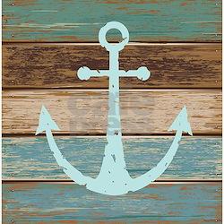 Nautical Weathered Wood Anchor Design Shower Curta
