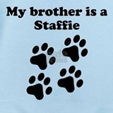 My brother is a staffie Baby Bodysuits